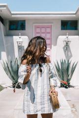 Hoy os enseño unas fotos que sacamos en Palm Springs durante Coachella con  un precioso vestido de rayas con los hombros al descubierto de Tularosa del  que ... 277f0431aa587